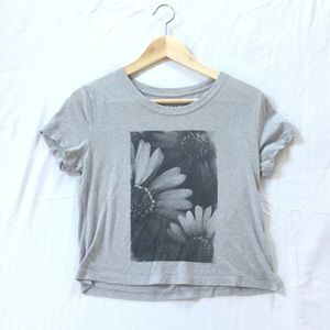 Gray Crop Top with Floral Design
